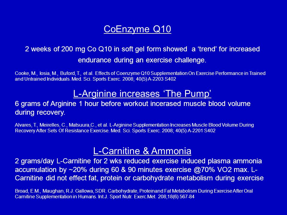 2 weeks of 200 mg Co Q10 in soft gel form showed a 'trend' for increased endurance during an exercise challenge.