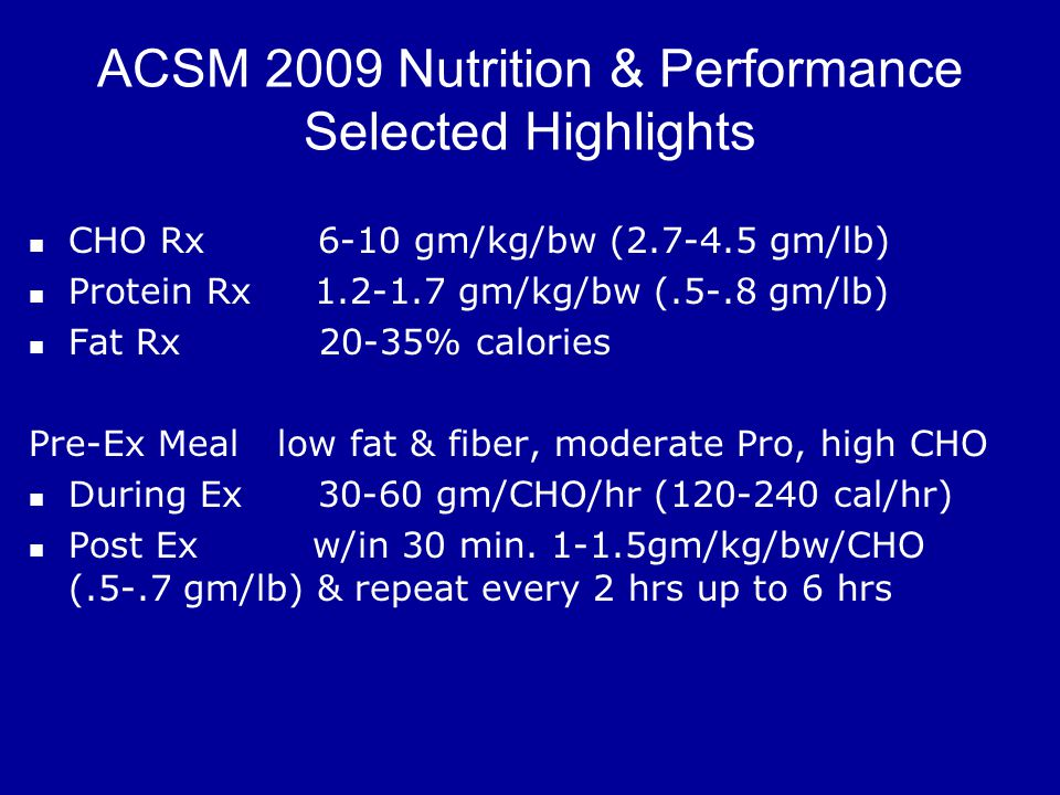 ACSM 2009 Nutrition & Performance Selected Highlights CHO Rx 6-10 gm/kg/bw (2.7-4.5 gm/lb) Protein Rx 1.2-1.7 gm/kg/bw (.5-.8 gm/lb) Fat Rx 20-35% calories Pre-Ex Meal low fat & fiber, moderate Pro, high CHO During Ex 30-60 gm/CHO/hr (120-240 cal/hr) Post Ex w/in 30 min.