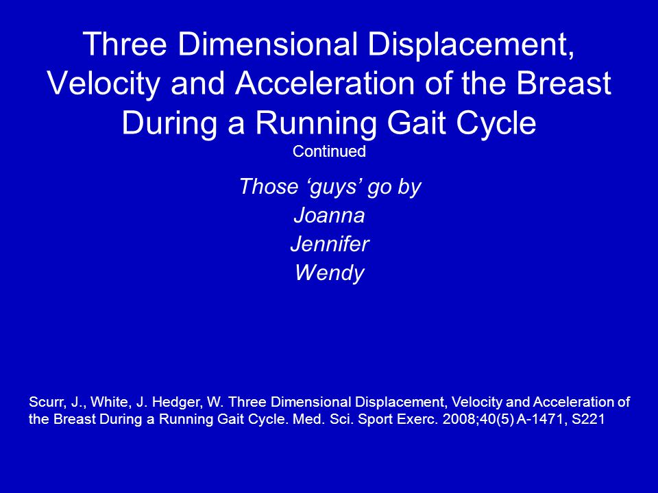 Three Dimensional Displacement, Velocity and Acceleration of the Breast During a Running Gait Cycle Continued Those 'guys' go by Joanna Jennifer Wendy Scurr, J., White, J.