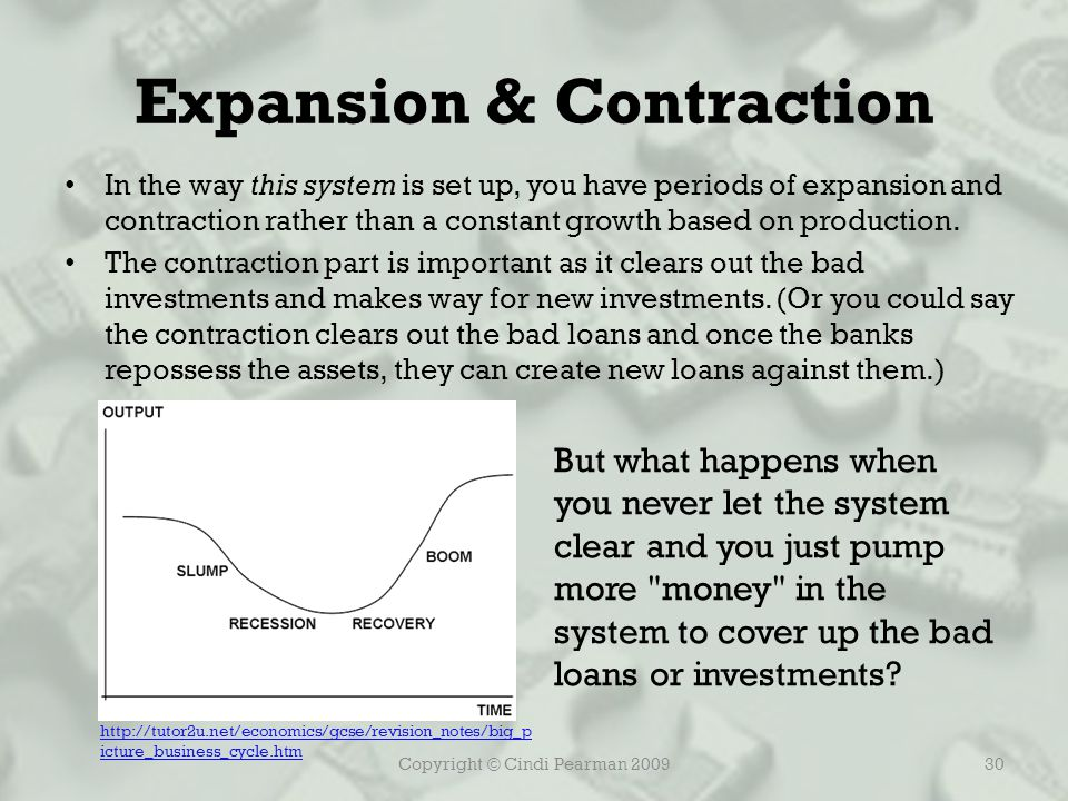 Copyright © Cindi Pearman 200930 Expansion & Contraction In the way this system is set up, you have periods of expansion and contraction rather than a constant growth based on production.