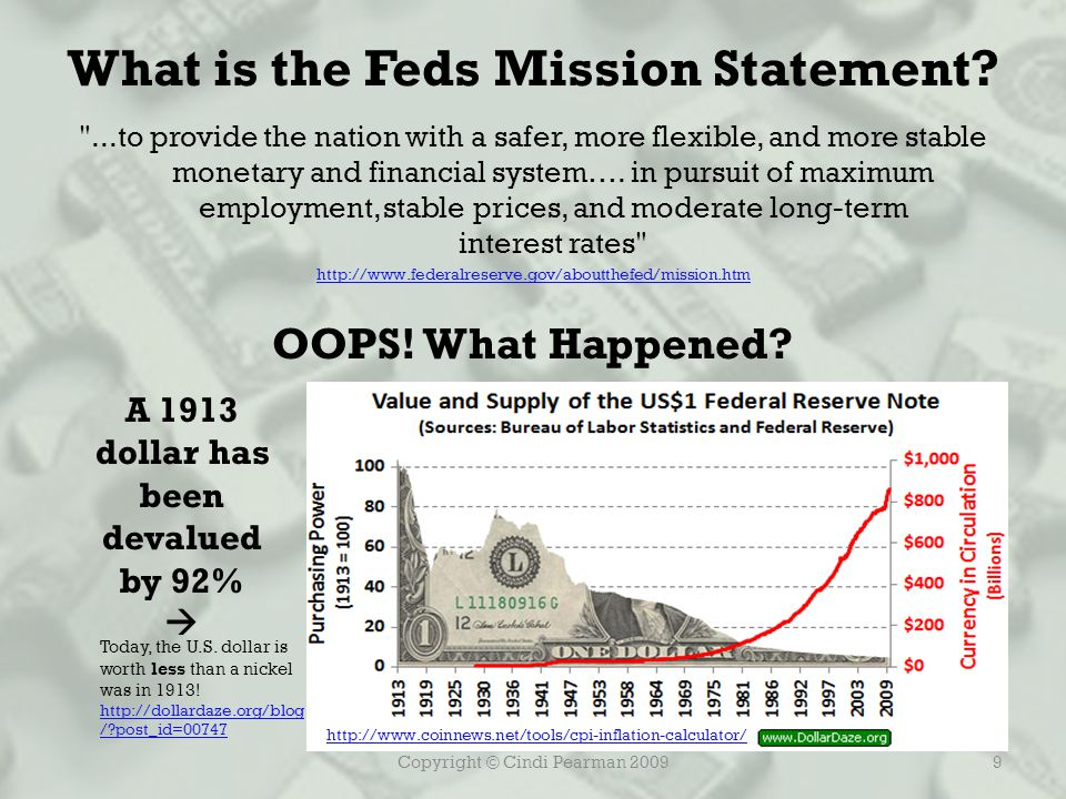 Copyright © Cindi Pearman 20099 What is the Feds Mission Statement.