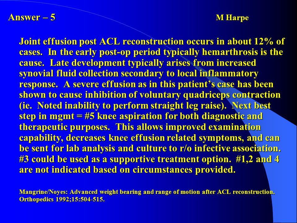 Andrew Pennock Answer: 5 Matava MJ, Patton CM, Luhmann S, et al: Knee pain as the initial symptom of slipped capital femoral epiphysis.