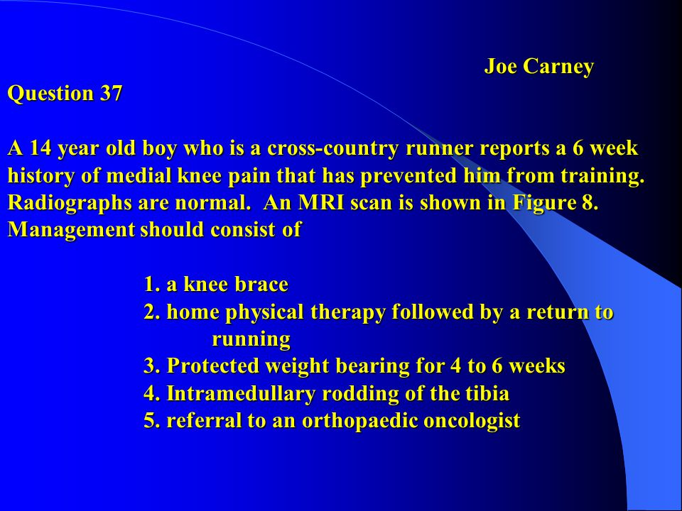 Q 68 preferred response 5Jim Harris Based on hx, age and physical exam the issue here is MCL disruption vs.