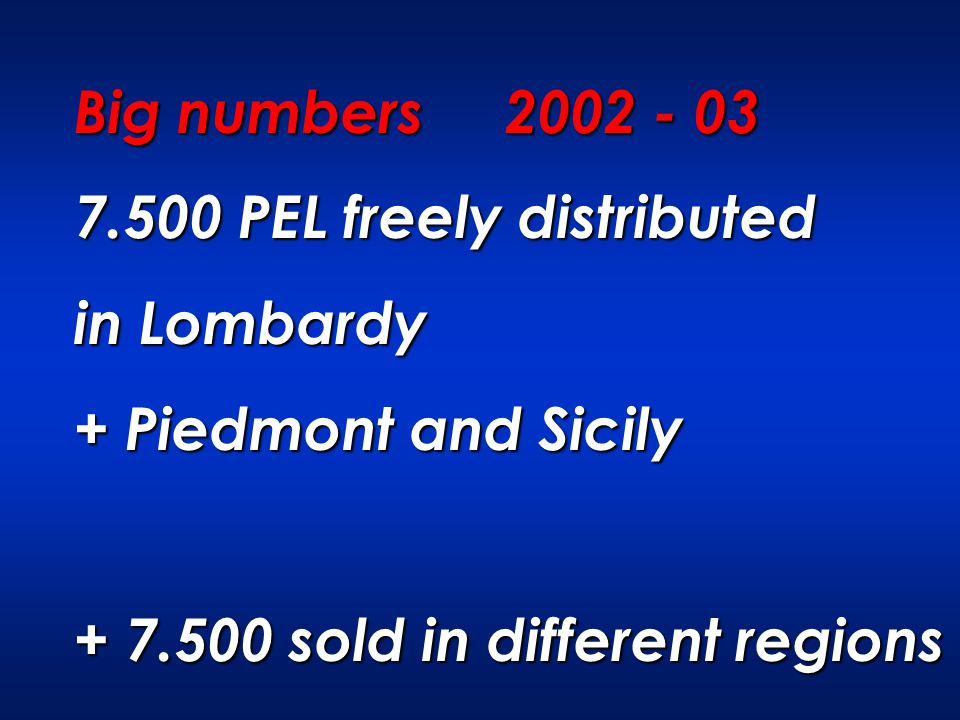 Big numbers 2002 - 03 7.500 PEL freely distributed in Lombardy + Piedmont and Sicily + 7.500 sold in different regions
