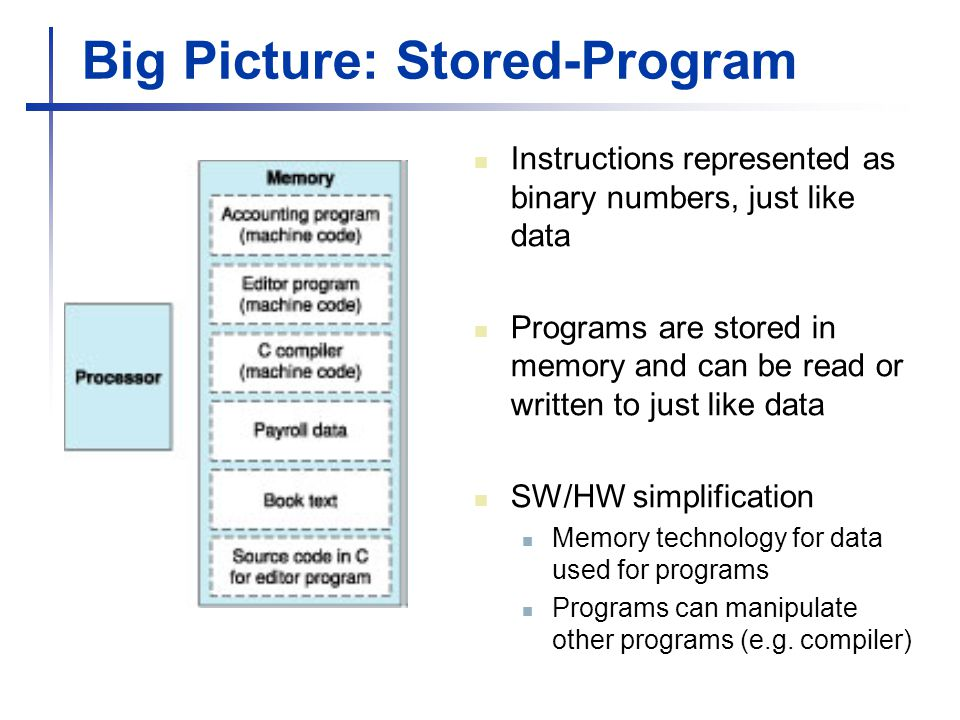 Big Picture: Stored-Program Instructions represented as binary numbers, just like data Programs are stored in memory and can be read or written to just like data SW/HW simplification Memory technology for data used for programs Programs can manipulate other programs (e.g.