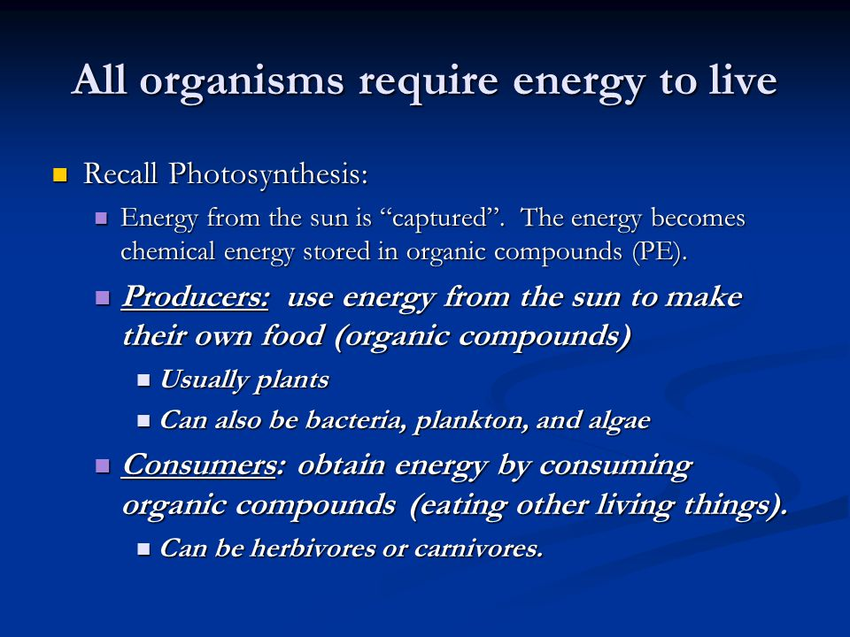 "All organisms require energy to live Recall Photosynthesis: Recall Photosynthesis: Energy from the sun is ""captured"". The energy becomes chemical ener"