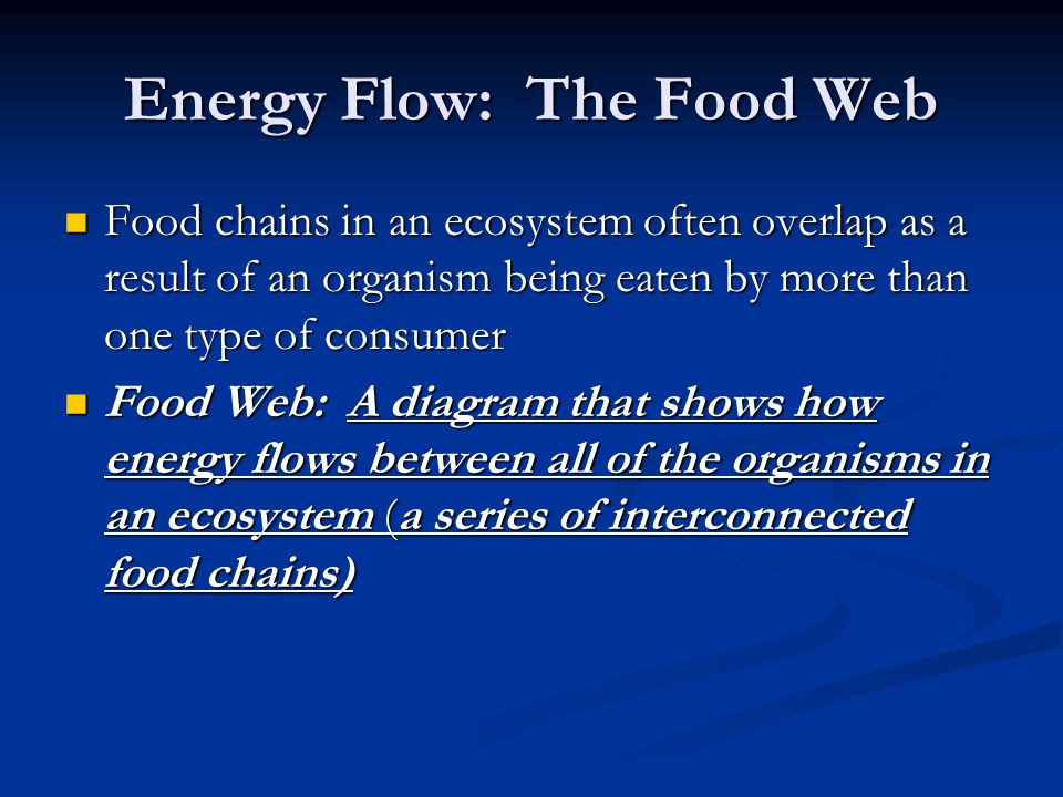 Energy Flow: The Food Web Food chains in an ecosystem often overlap as a result of an organism being eaten by more than one type of consumer Food chai