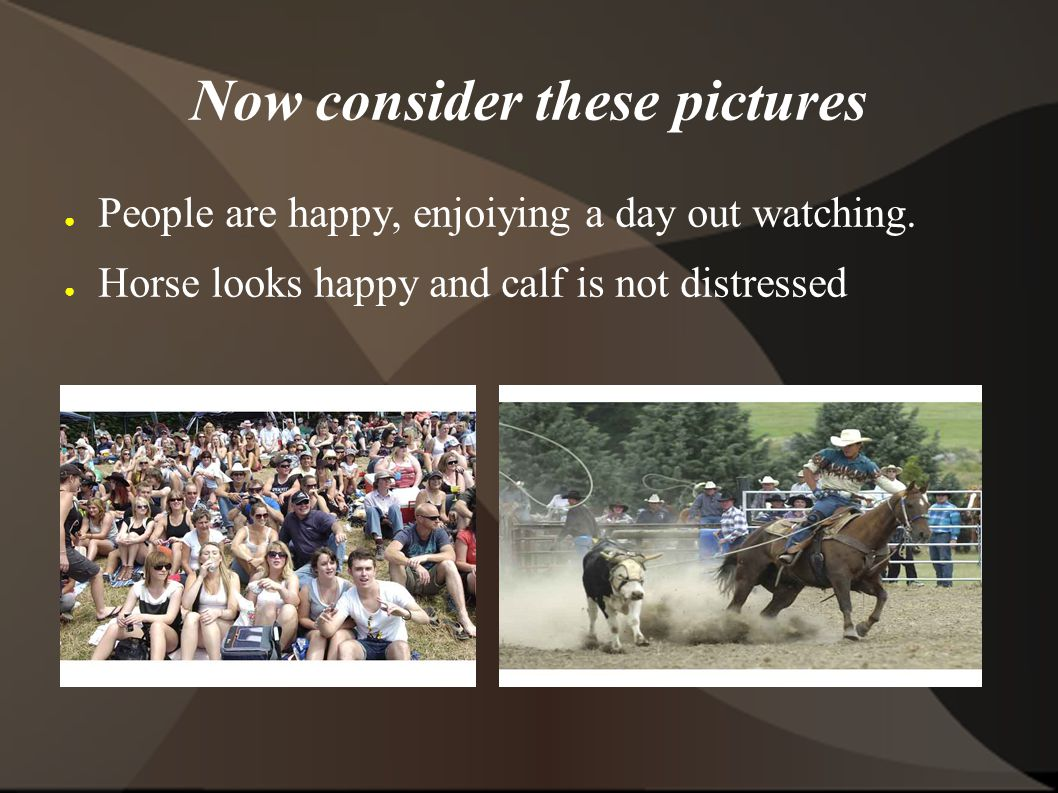 Now consider these pictures ● People are happy, enjoiying a day out watching.