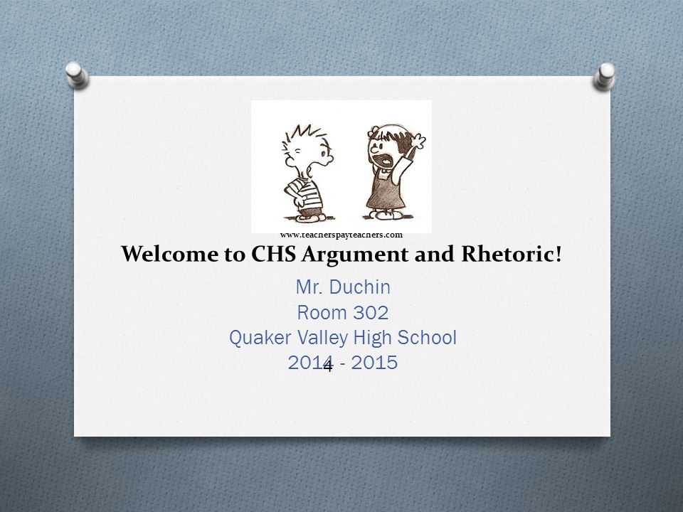 www.teacherspayteachers.com Welcome to CHS Argument and Rhetoric.