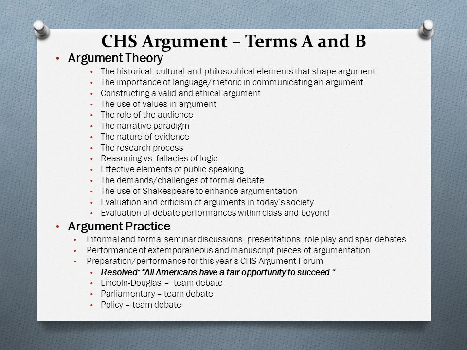 CHS Argument – Terms A and B Argument Theory The historical, cultural and philosophical elements that shape argument The importance of language/rhetoric in communicating an argument Constructing a valid and ethical argument The use of values in argument The role of the audience The narrative paradigm The nature of evidence The research process Reasoning vs.