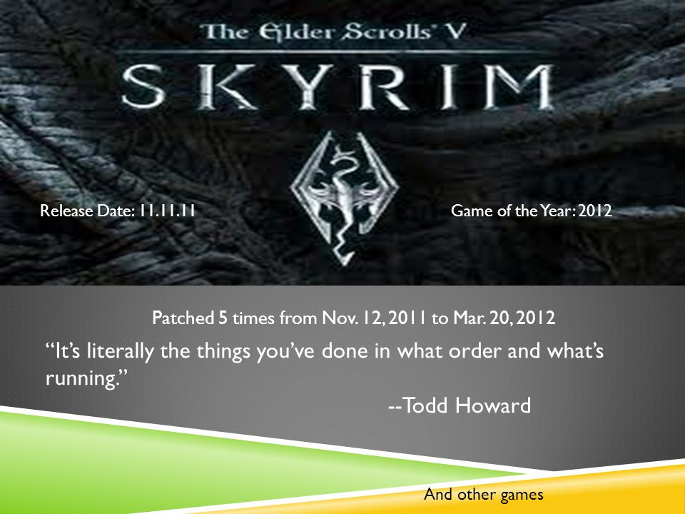 Release Date: 11.11.11Game of the Year: 2012 Patched 5 times from Nov.