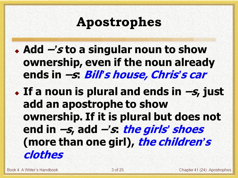 Book 4: A Writer's HandbookChapter 41 (24): Apostrophes24 of 25 10.