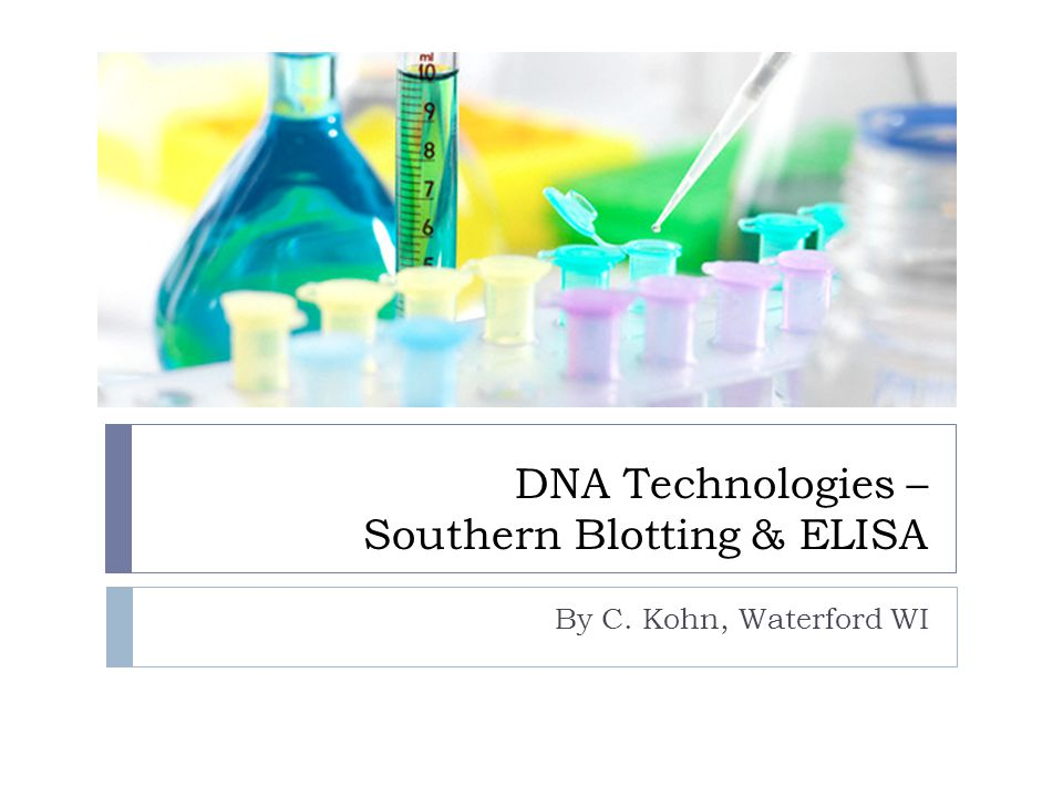 DNA Technologies – Southern Blotting & ELISA By C. Kohn, Waterford WI
