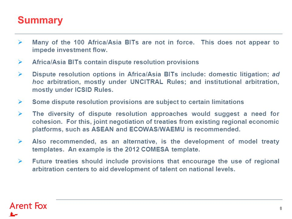 Summary  Many of the 100 Africa/Asia BITs are not in force.