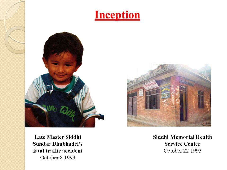 Inception Late Master Siddhi Sundar Dhubhadel's fatal traffic accident October 8 1993 Siddhi Memorial Health Service Center October 22 1993