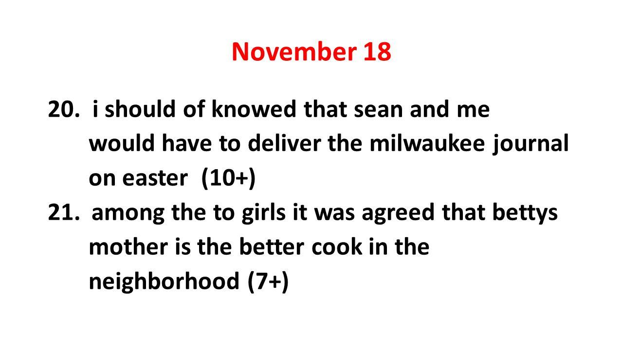 November 18 20.