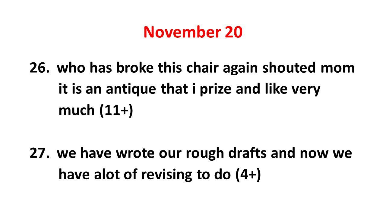 November 20 26.