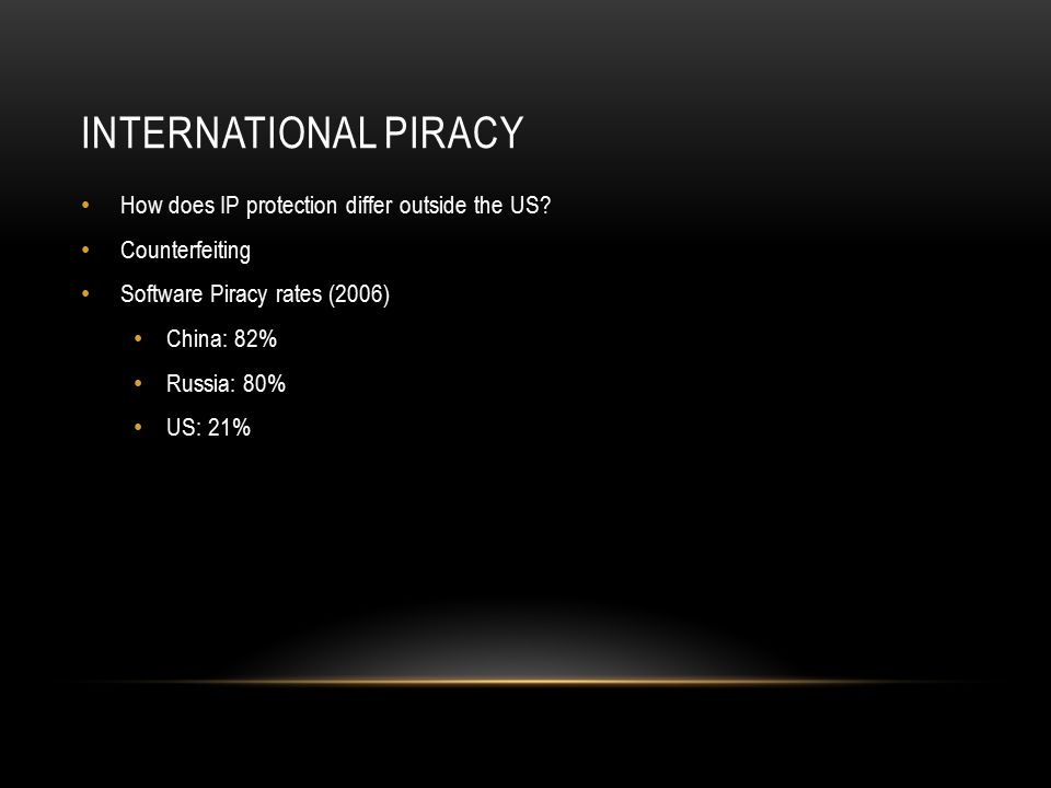 INTERNATIONAL PIRACY How does IP protection differ outside the US.