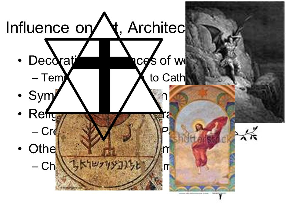 Influence on Art, Architecture, et cetera Decorations on places of worship –Temple in Jerusalem to Catholic cathedrals Symbolic representation of God in artwork Religious themes in literature –Creation & Fall of Man (Paradise Lost) Other religious development –Christianity stemmed from Judaism