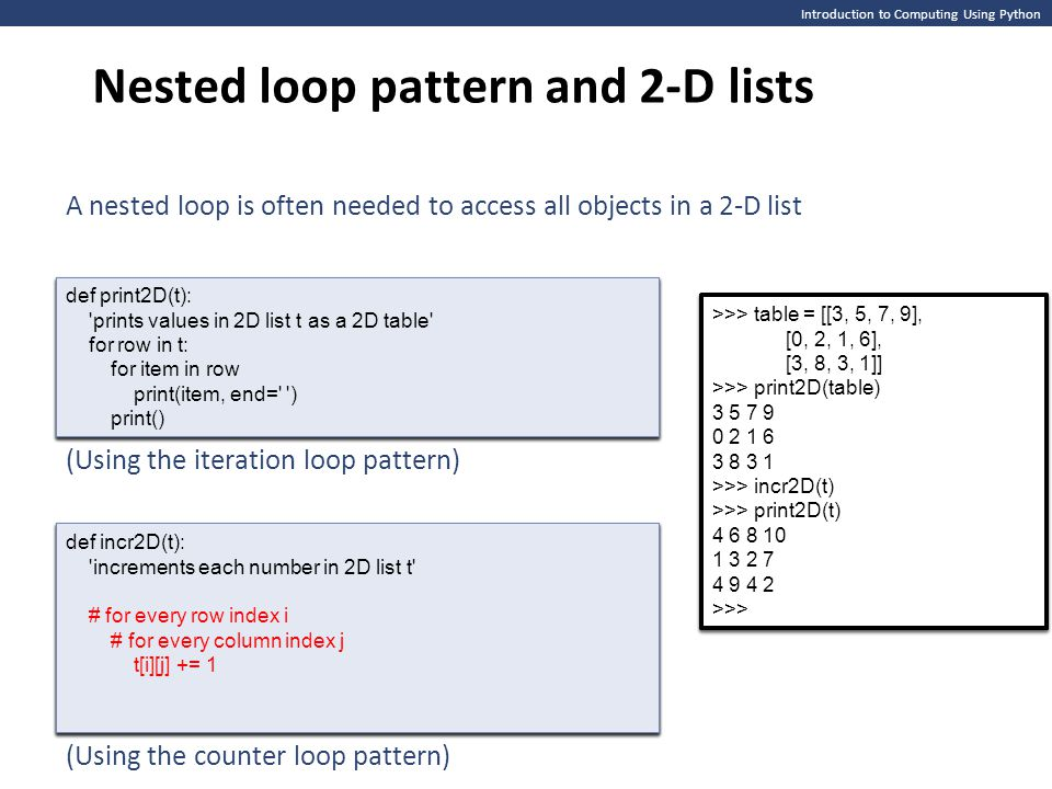 Introduction to Computing Using Python Nested loop pattern and 2-D lists A nested loop is often needed to access all objects in a 2-D list >>> table =