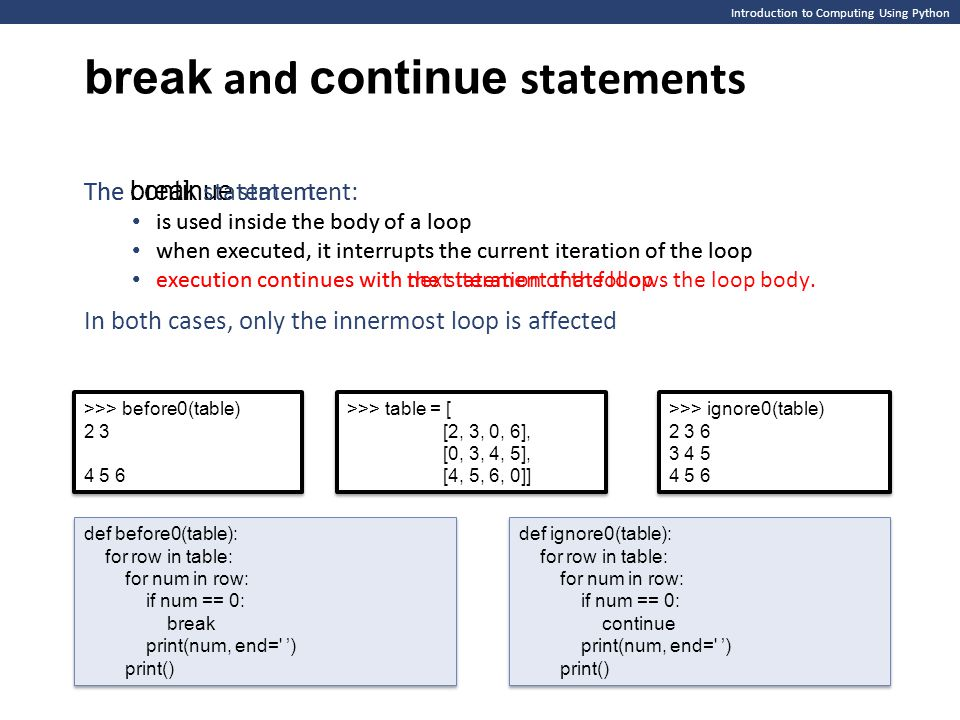 Introduction to Computing Using Python break and continue statements The continue statement: is used inside the body of a loop when executed, it inter