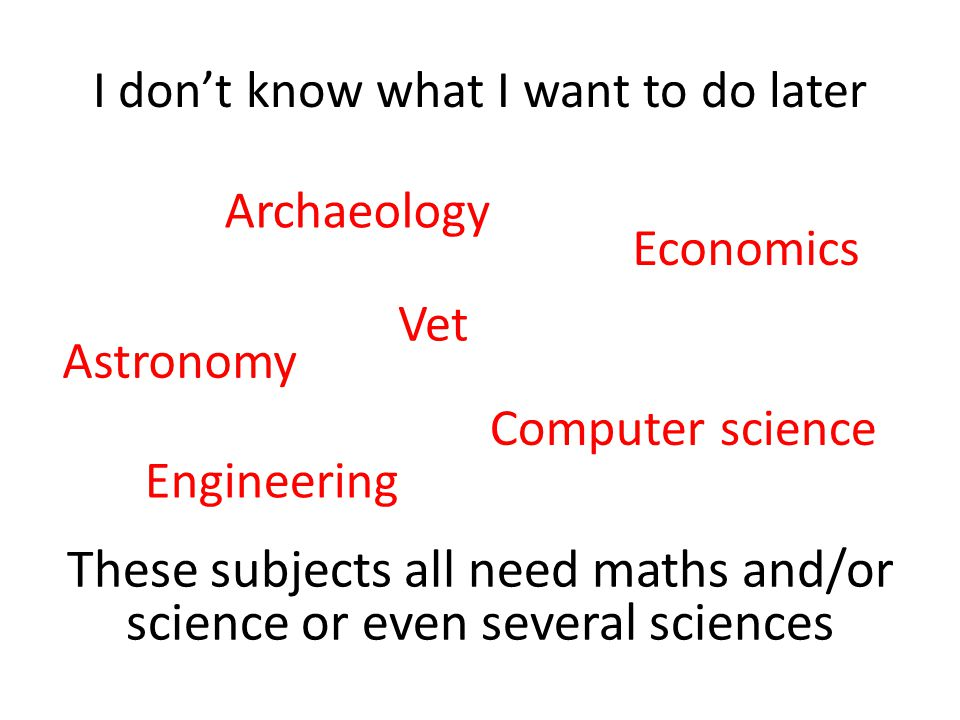 I don't know what I want to do later These subjects all need maths and/or science or even several sciences Engineering Economics Archaeology Computer science Astronomy Vet