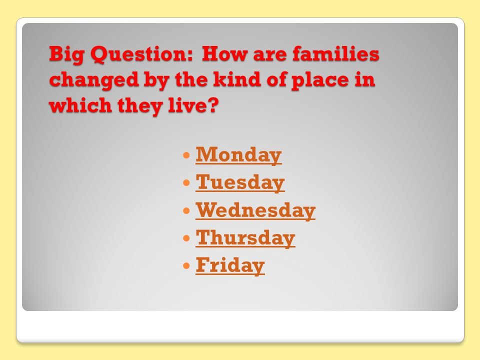 Monday Question of the Day How are families changed by the kind of place in which they live?