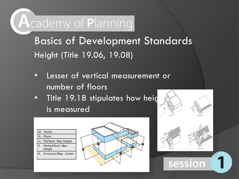 Height (Title 19.06, 19.08) Lesser of vertical measurement or number of floors Title 19.18 stipulates how height is measured Basics of Development Sta