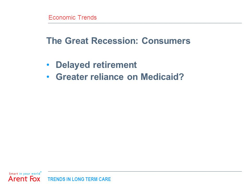 TRENDS IN LONG TERM CARE Economic Trends The Great Recession: Consumers Delayed retirement Greater reliance on Medicaid