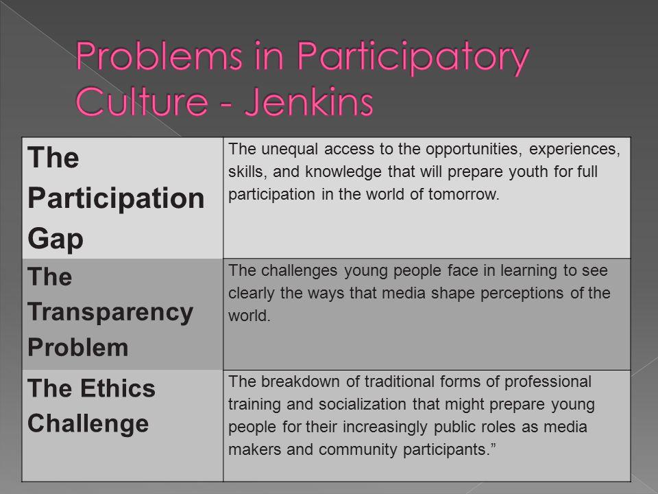 Henry Jenkins Henry Jenkins  Marc Prensky Marc Prensky  (Kolb s learning styles)  Media Literacy Media Literacy  Participatory Culture  (Learning Styles)