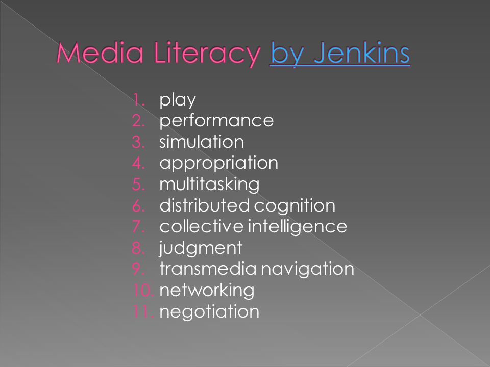  Henry Jenkins  Marc Prensky  (Kolb s learning styles)  Media Literacy  Participatory Culture  (Learning Styles )