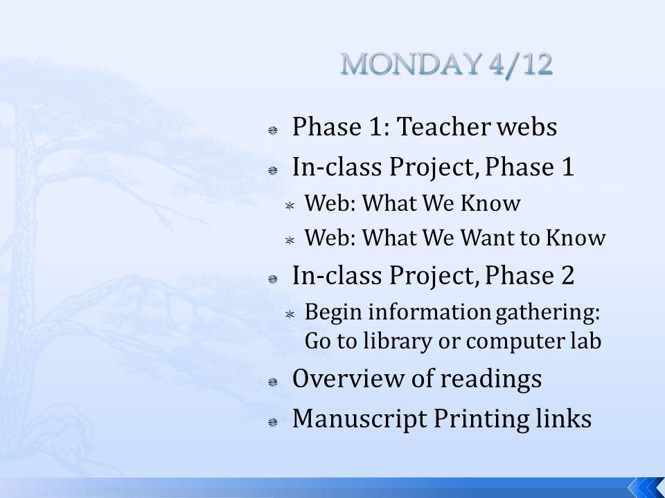  Phase 1: Teacher webs  In-class Project, Phase 1  Web: What We Know  Web: What We Want to Know  In-class Project, Phase 2  Begin information ga