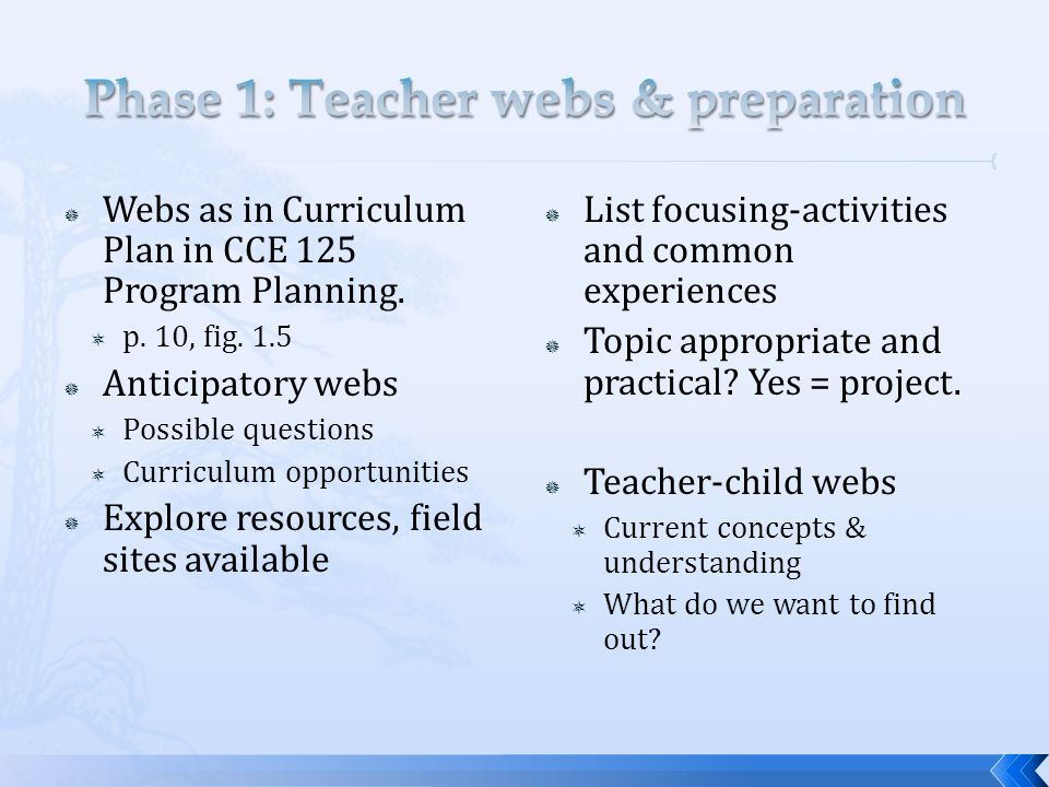  Webs as in Curriculum Plan in CCE 125 Program Planning.  p. 10, fig. 1.5  Anticipatory webs  Possible questions  Curriculum opportunities  Expl