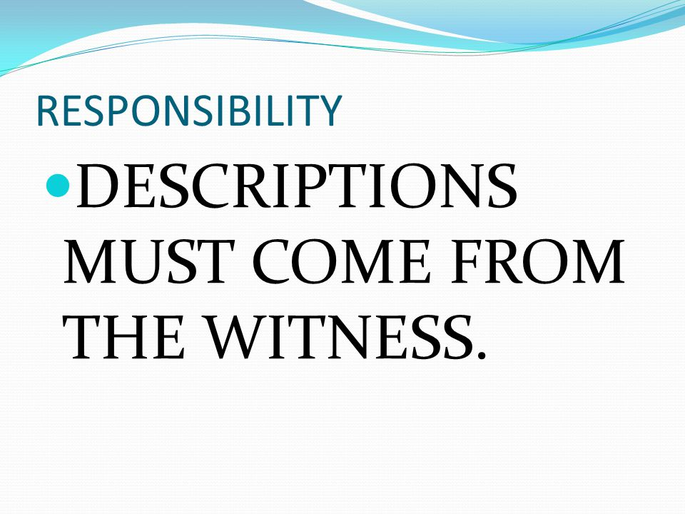 RESPONSIBILITY DESCRIPTIONS MUST COME FROM THE WITNESS.