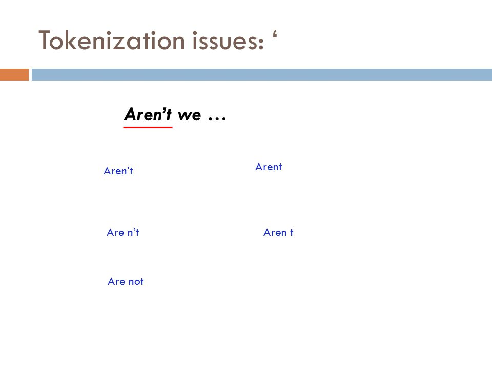 Tokenization issues: ' Aren't we … Aren't Arent Are n'tAren t Are not