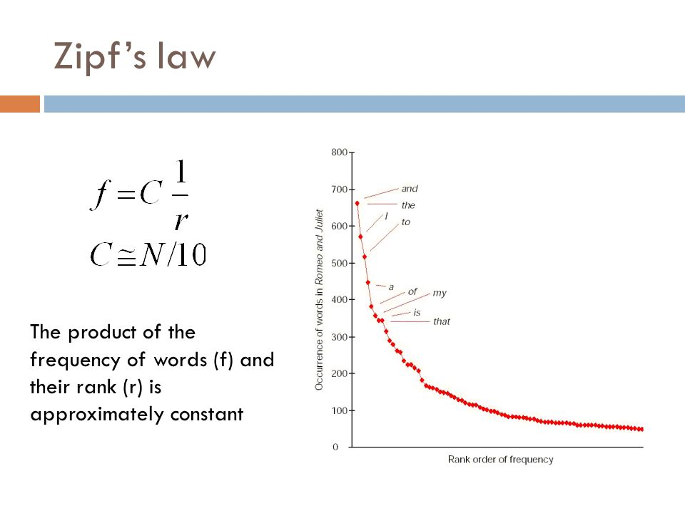 Zipf's law The product of the frequency of words (f) and their rank (r) is approximately constant