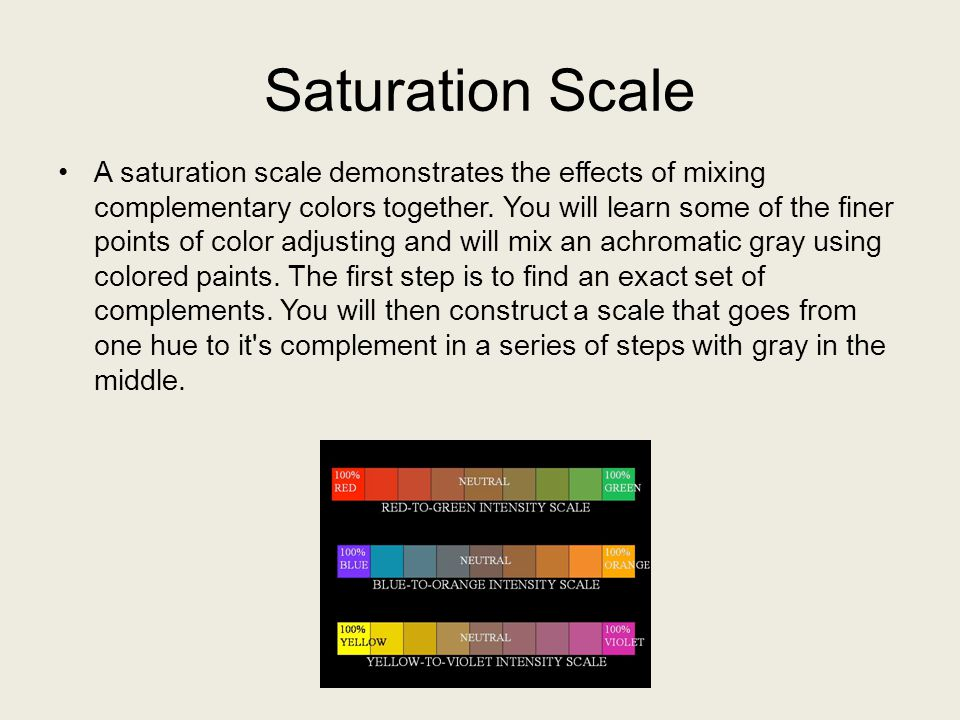 Saturation Scale A saturation scale demonstrates the effects of mixing complementary colors together. You will learn some of the finer points of color