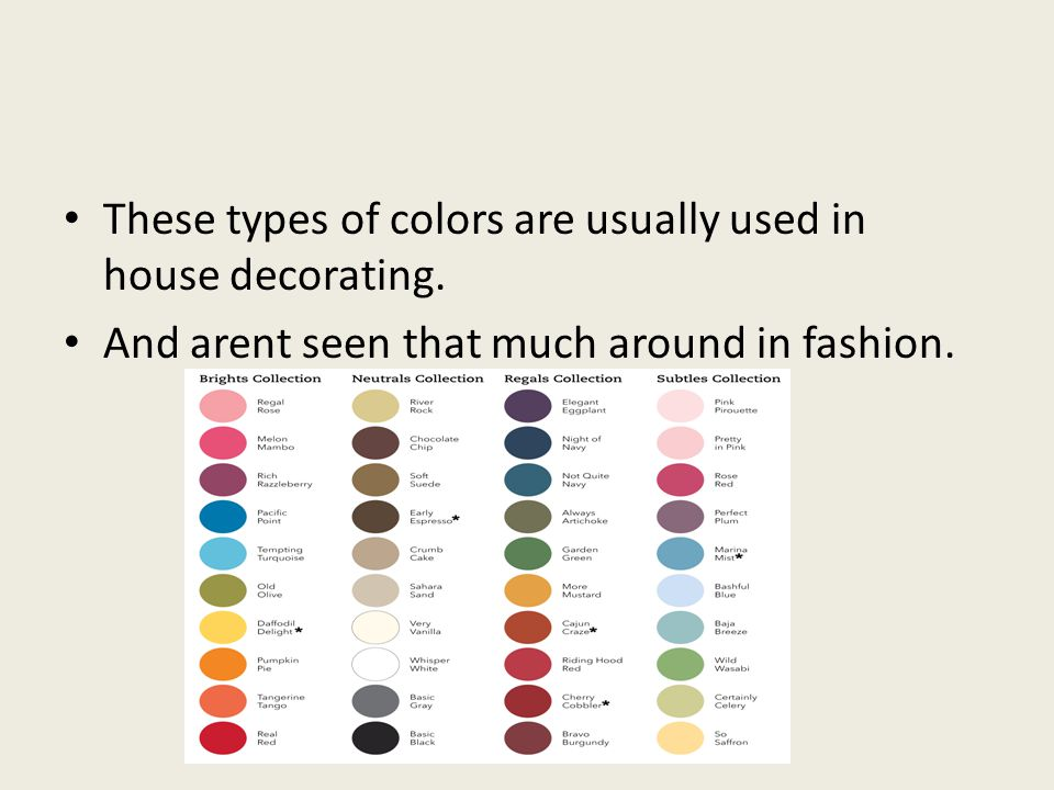 These types of colors are usually used in house decorating. And arent seen that much around in fashion.