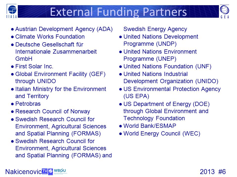 2013 #6Nakicenovic External Funding Partners ●Austrian Development Agency (ADA) ●Climate Works Foundation ●Deutsche Gesellschaft für Internationale Zusammenarbeit GmbH ●First Solar Inc.
