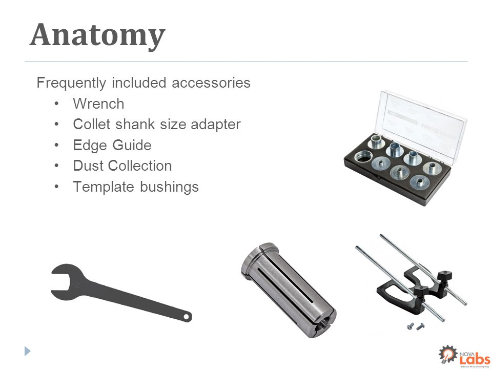 Frequently included accessories Wrench Collet shank size adapter Edge Guide Dust Collection Template bushings Anatomy