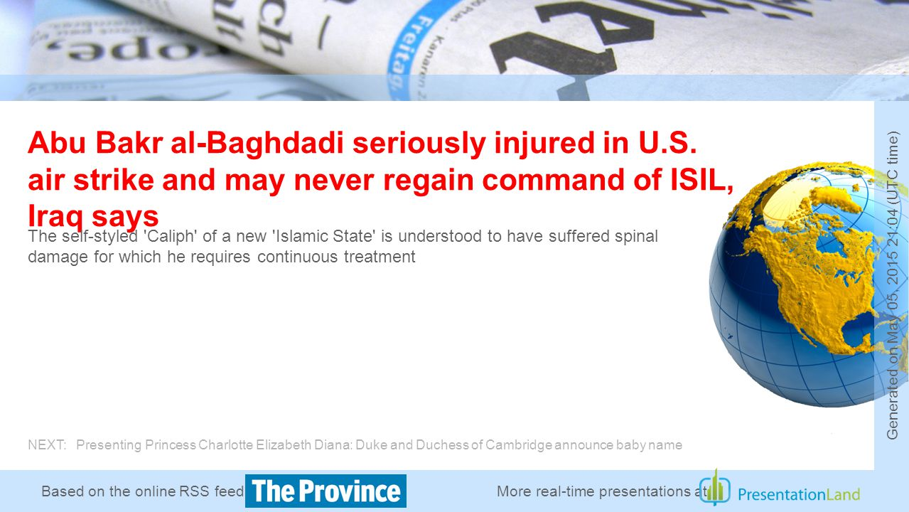 Based on the online RSS feed of Abu Bakr al-Baghdadi seriously injured in U.S.
