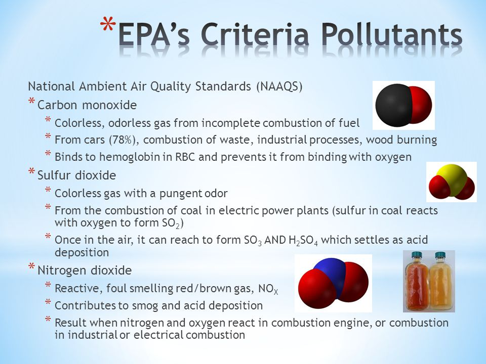 National Ambient Air Quality Standards (NAAQS) * Carbon monoxide * Colorless, odorless gas from incomplete combustion of fuel * From cars (78%), combustion of waste, industrial processes, wood burning * Binds to hemoglobin in RBC and prevents it from binding with oxygen * Sulfur dioxide * Colorless gas with a pungent odor * From the combustion of coal in electric power plants (sulfur in coal reacts with oxygen to form SO 2 ) * Once in the air, it can reach to form SO 3 AND H 2 SO 4 which settles as acid deposition * Nitrogen dioxide * Reactive, foul smelling red/brown gas, NO X * Contributes to smog and acid deposition * Result when nitrogen and oxygen react in combustion engine, or combustion in industrial or electrical combustion