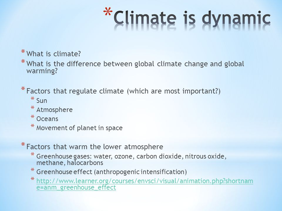 * What is climate. * What is the difference between global climate change and global warming.