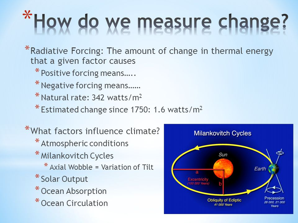 * Radiative Forcing: The amount of change in thermal energy that a given factor causes * Positive forcing means…..