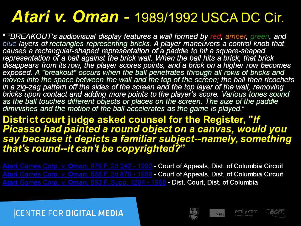 Atari v. Oman - 1989/1992 USCA DC Cir.