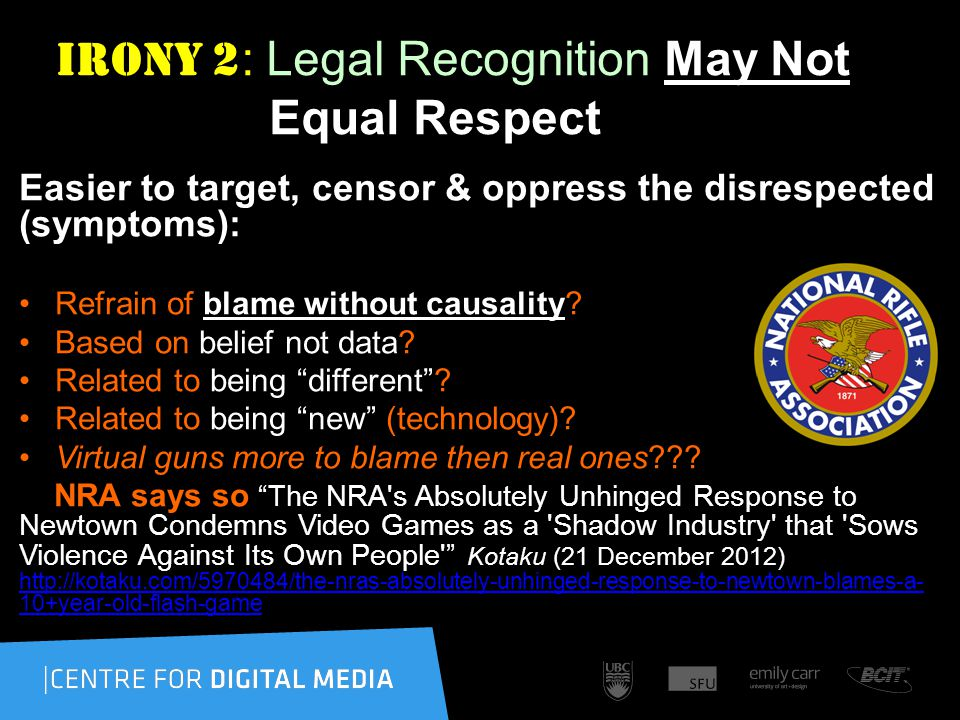 Irony 2 : Legal Recognition May Not Equal Respect Easier to target, censor & oppress the disrespected (symptoms): Refrain of blame without causality.