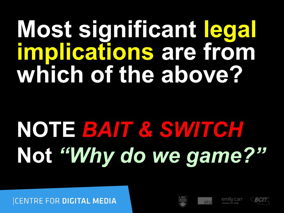 "Most significant legal implications are from which of the above? NOTE BAIT & SWITCH Not ""Why do we game?"""