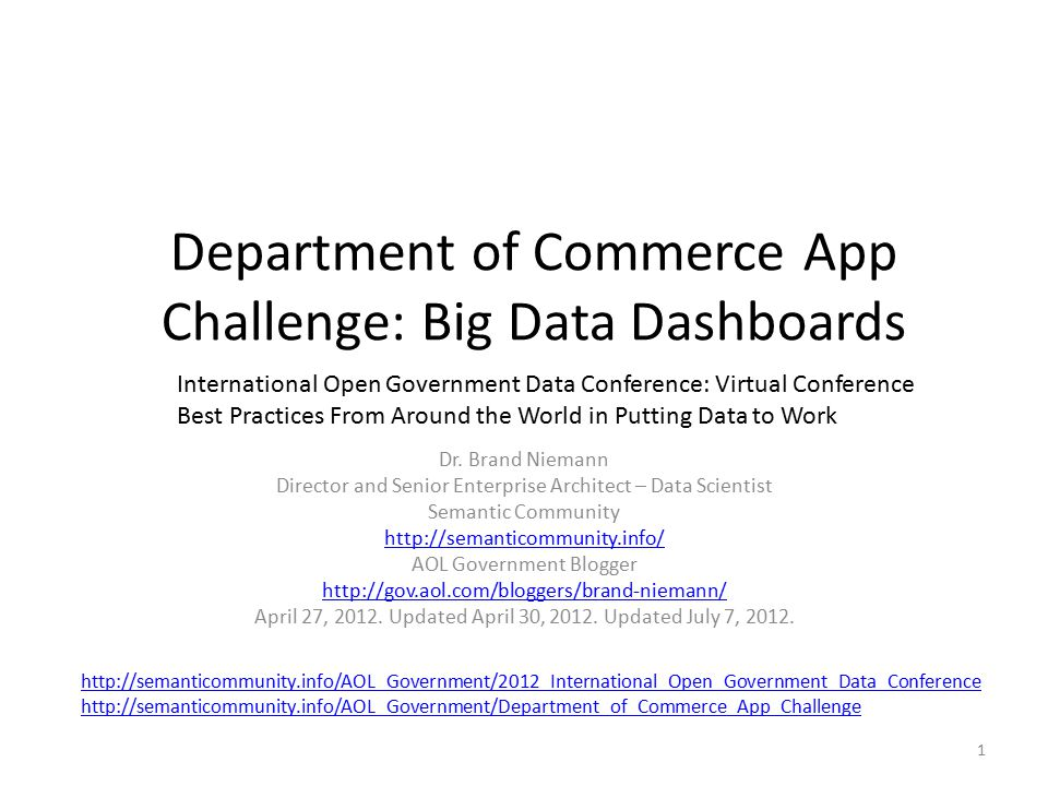 Department of Commerce App Challenge: Big Data Dashboards Dr.