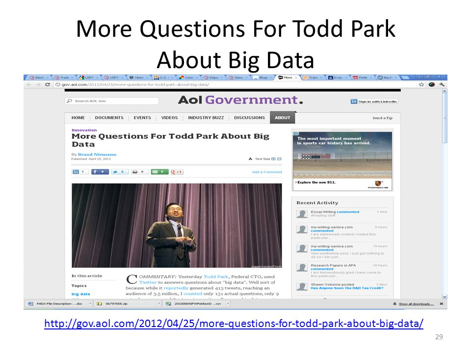 More Questions For Todd Park About Big Data 29 http://gov.aol.com/2012/04/25/more-questions-for-todd-park-about-big-data/