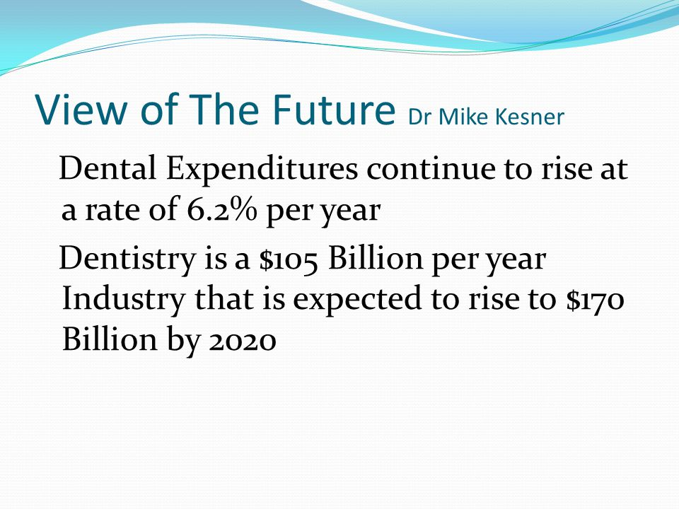 View of The Future Dr Mike Kesner Dental Expenditures continue to rise at a rate of 6.2% per year Dentistry is a $105 Billion per year Industry that is expected to rise to $170 Billion by 2020